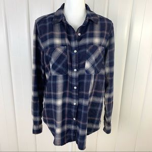 Mossimo: Dark hewed plaid flannel